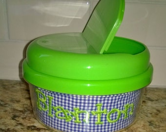 Monogrammed Green Snack Container