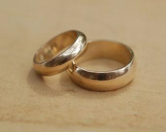 14kt Gold Domed Wedding Band Set, his wedding ring, matching set
