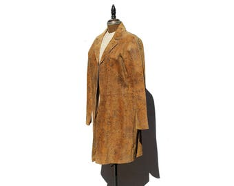 Vintage Rust Brown Print Leather Duster Coat