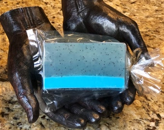 Soft Moroccan musk  Olive oil shower soap bar with exfoliating poppy seed