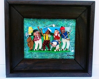 5 Golfers  Original 3D Mixed Media Golf Art Painting Gift PGA, Golfing, Reclaimed Wood Frame