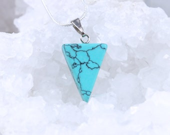Turquoise Triangle Pyramid Pendant Necklace