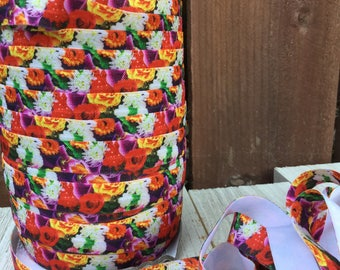 NEW-Elastic-BRIGHT FLOWERS - 5/8 inches  5 yards and 10 yards