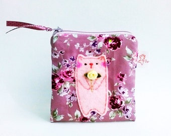 Cat pouch, girlfriend gift, small coin pouch, coin purse, coin wallet, unique pouch, zipper pouch, small change purse, women wallet