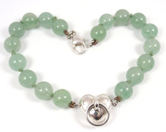 "Rare Vintage 1995 Tiffany & Co Sterling Silver Aventurine Bead Ball Door Knocker Heart Bracelet 8"""