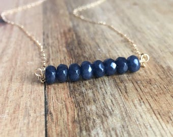 Sapphire Necklace - Sapphire Jewelry - Gemstone Necklace - Sapphire - September Birthstone Necklace - September Birthstone