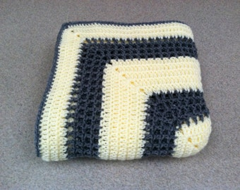Crocheted Afghan - Throw Blanket in Yellow and Grey