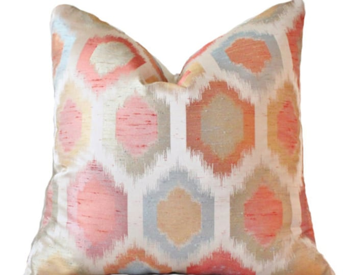 Motif Pillows - Designer Ikat Pillow  Salmon  Coral Peach Blue Purple Gold Orange Green Modern Ikat Pillow - Geometric Throw Pillow