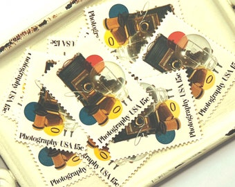 10 Vintage Unused Postage Stamps // Photography // 15c