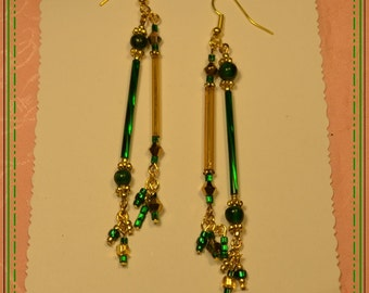 Vintage Gold and Green Bugle and Crystal Earrings