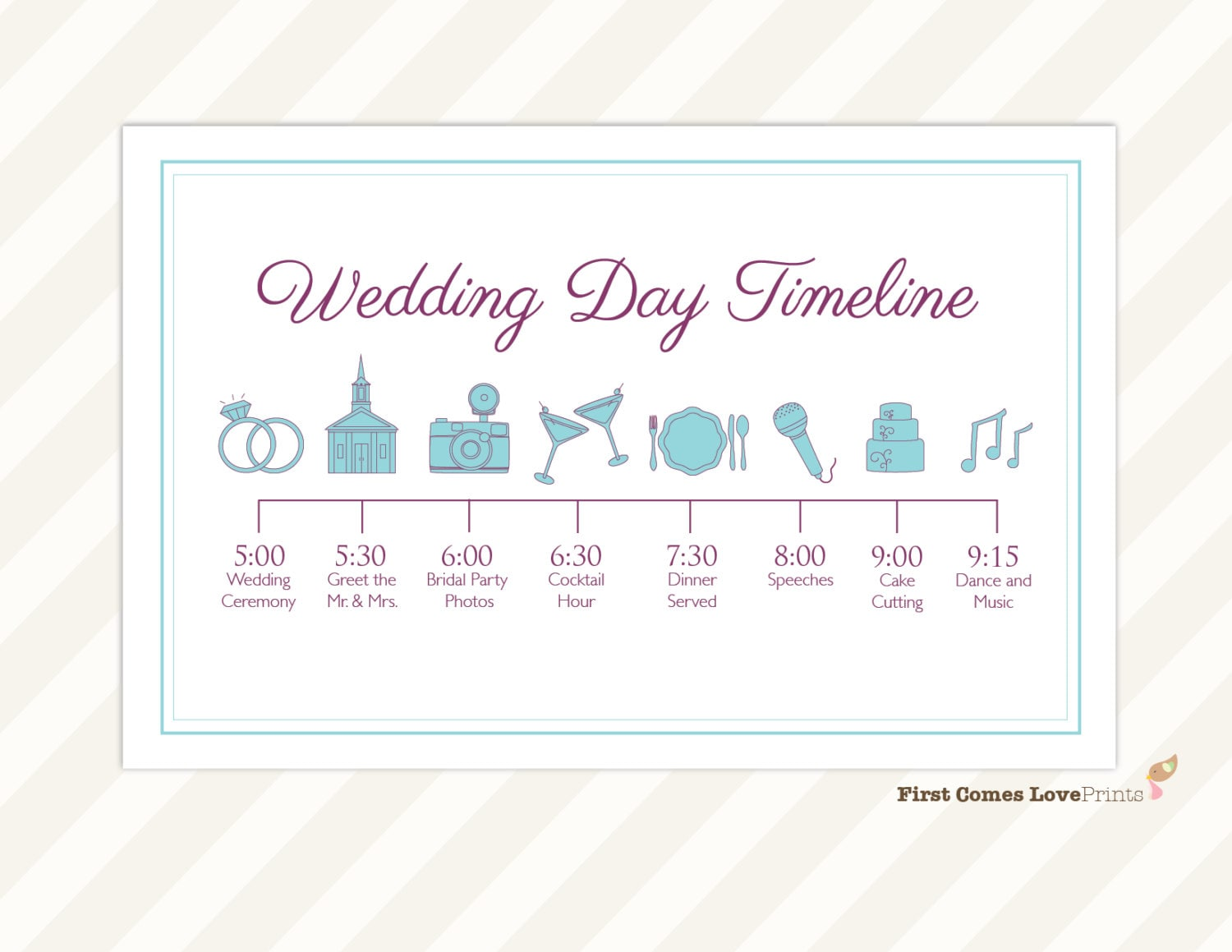 Wedding day timeline card itinerary for guests big day for Bridal shower itinerary template