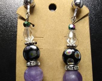 Clip on drop beaded earrings with Amethyst