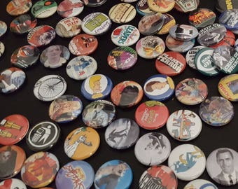 "100 Random 1"" Buttons/Pinbacks/Badges  New Retro Vintage Comics Movies Culture Horror Cult All Random"