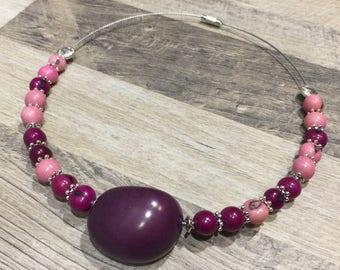 Choker ethnic tagua and acai purple and pink