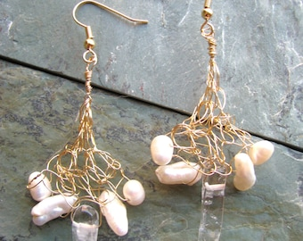 Crocheted Wire Earrings - quartz crystals and freshwater pearls