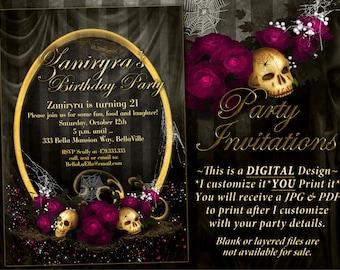 Gothic Party Invites, Halloween Invitations, Goth Party Invitations