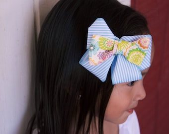 Blue Stripes & Paisley Hair Bow, Blue Hair Bow, Striped Hair Bow, Floral Hair Bow, Hair Accessory, Hair Accessories