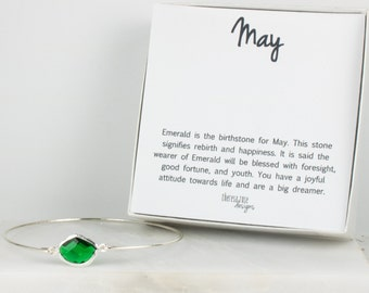 May Birthstone Emerald Sterling Silver Bangle, May Birthstone Silver Bracelet,  Sterling Silver Bracelet, Emerald Bangle Bracelet