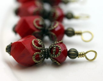 Vintge Style Ruby Red Twisted Helix Crystal with Brass Bead Dangle Charm Drop Set - Earring Dangle, Charm, Drop, Pendant