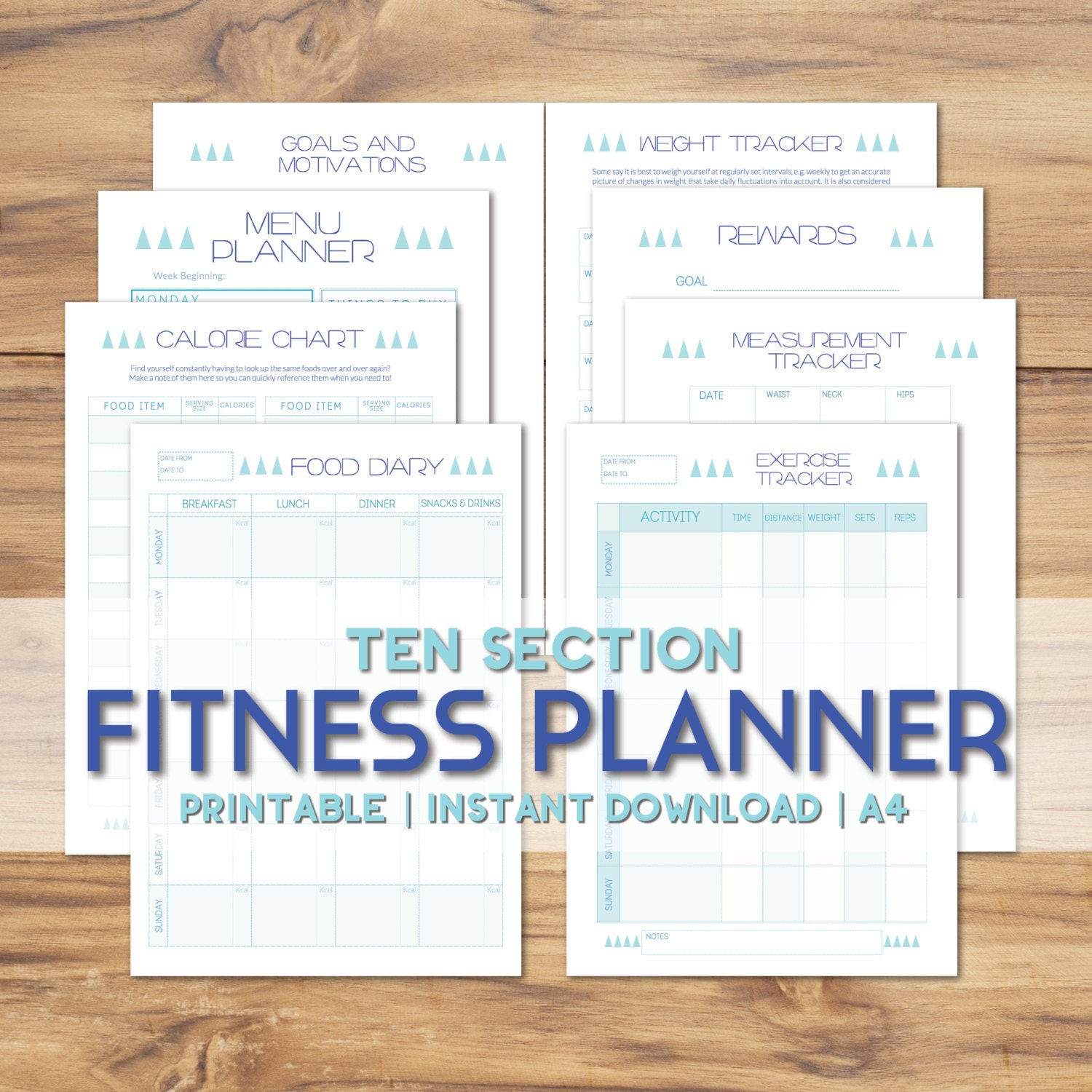 Printable fitness planner blue modern geometric diet zoom nvjuhfo Image collections