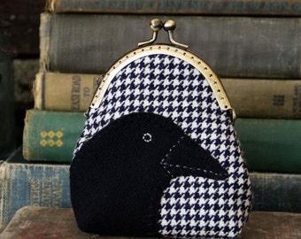 Primitive Crow Coin Purse, Handmade Purse, Wallet, Change purse