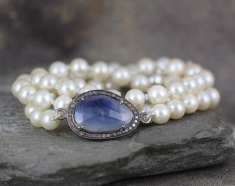 Pearl Sapphire & Diamond Necklace - Classic Pearls - Something Blue - Hand Knotted in Canada