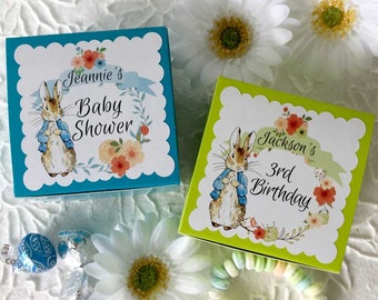Peter Rabbit Customized Party Favors Boxes | Personalized Blue Green Beatrix Potter Table Decor 3x3x2 | Boy Girl Birthday Baby Shower Set/24