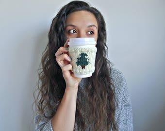 KNITTING PATTERN • Knit Coffee Cozy Sleeve Pattern • Coffee Cozy Knit Pattern • Tea Cozy Starbucks Pattern •Pine Barrens Coffee Cozy Pattern