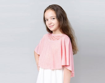 Pink Girls Bolero for Special Occasion, Pink Shrug for Girls, Pink Bolero, Pink Flower Girl Shrug, Flower Girl Bolero, Pink Bridesmaid Shawl