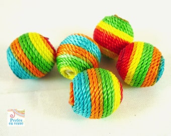 5 multicolored beads rope, 14mm (pt25)