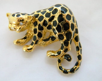 Vintage Leopard Statement Brooch, Figural Pin, Animal Brooch, Leopard Jewelry, Vintage Costume Jewelry, Free Shipping