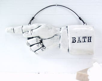 Bath Pointing Finger.  Fired Ceramic.  Recycled Clay.  Bathroom Sign.  Ready To Ship.