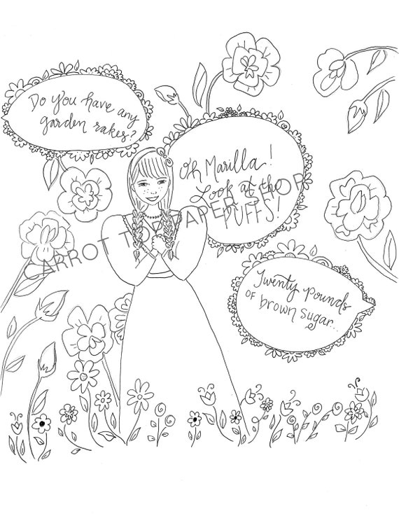 Anne of Green Gables Coloring page adult coloring literary