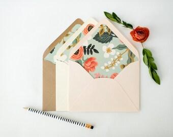 """rifle paper """"birch"""" lined envelopes / envelope liners (sets of 10) // blue floral / wedding envelopes / envelope liner"""