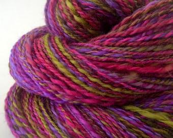 Handspun Yarn -  Hand Spun Merino Yarn - Art Yarn- 1.75oz, 212yd, 18WPI