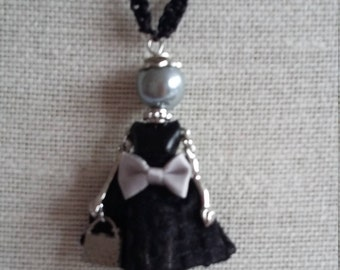 SALE: Long Macrame Necklace with French Doll Pendant