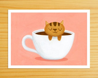 Caramel Coffee Cat 5x7 Print