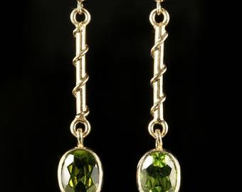 Long 1.50ct Peridot Gold Earrings