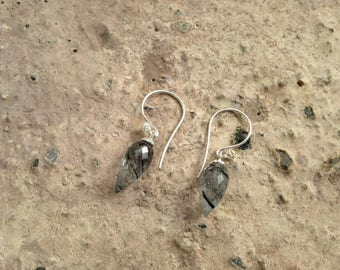 Tourmalinated Quartz ~ Sterling Silver DewDrop Earrings