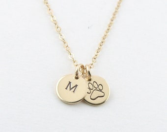 Pet Mother Gift Puppy Love Paw Necklace Personalized Pet Initial Necklace, Tiny Rose Gold Disc, Gift for Dog Mom, Gift for Her, Personalized