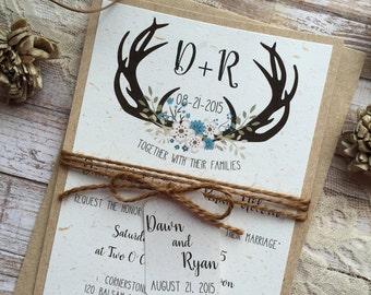 Rustic Wedding Invitation, Antler Wreath Wedding Invitation, Country Wedding Invitations, Floral Wedding Invitations,Barn Wedding Invitation