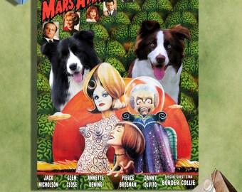 Border Collie Art - CANVAS  Print - Fine Artwork - Dog Portrait -  Dog Painting - Dog Art - Dog Print - Mars Attacks! Movie Poster
