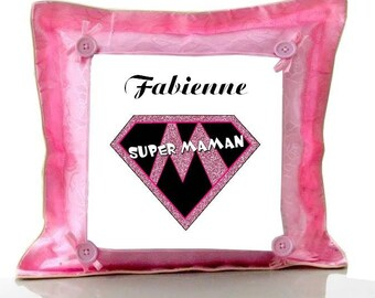 Cushion Pink MOM flower personalized with name