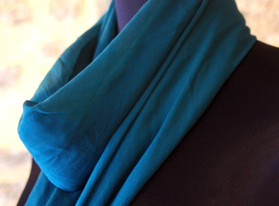 Shawl, square, silk scarf, chiffon green duck. Peacock blue.