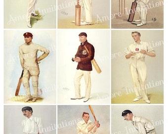 Printable Vintage Cricket Sports Digital Collage Sheet, Clip Art, Images ATC, JPEG  PDF  Instant Download  Downloadable  Commercial Use Cu