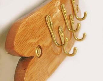 Junior, Finest recycled oak wine barrel stave rack, 5 brass key hooks, elegantly recycled wood