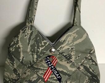 U.S. AIR FORCE CAMO - Ready Made Patchwork Medium Hobo Bag
