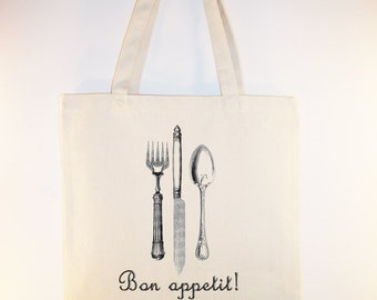 Vintage French flatware Bon Appetit Canvas Tote -- Selection of  sizes available, ANY IMAGE COLOR