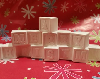 Merry Christmas Blocks, DIY Unfinished or Finished (see Finish and Description)  Decor, Decoration, Holiday, Xmas