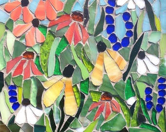 Sale!  Stained Glass Mosaic, flower art, wild flowers, home decor, mosaic, glass flower wall decor, glass art, mosaics